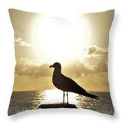 Seagull's Sunrise Silhouette Throw Pillow