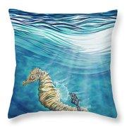 Seahorse Blues Throw Pillow
