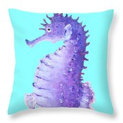 Seahorse Painting On Blue Background Throw Pillow