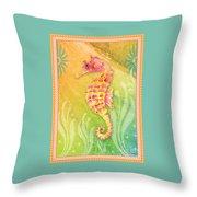 Seahorse Pink Throw Pillow