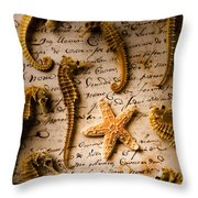 Seahorses And Starfish On Old Letter Throw Pillow