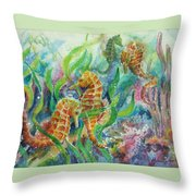 Seahorses Three Throw Pillow