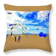 Seal Beach Kite Fly Throw Pillow