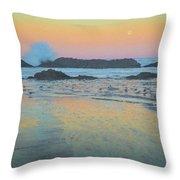 Seal Rock Moonset Throw Pillow