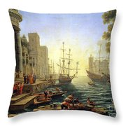 Seaport With The Embarkation Of Saint Ursula  Throw Pillow