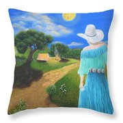 Searching For Her Elusive Cowboy Throw Pillow