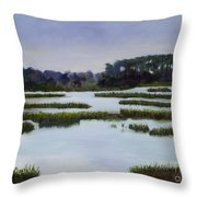 Searching Savannah Marsh By Marilyn Nolan- Johnson Throw Pillow