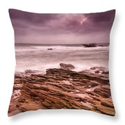 Seascape At The Coastline Of West France Throw Pillow