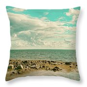Seascape Cloudscape Retro Effect Throw Pillow