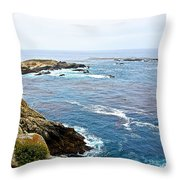 Seascape From Point Lobos State Reserve Near Monterey-california  Throw Pillow