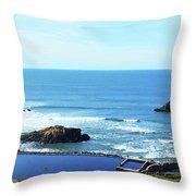 Seascape San Francisco Sutro Bath Pacific Ocean Shore Throw Pillow