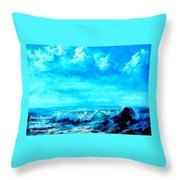 Seascape Scene Near Northbrooke-on-sea L A Throw Pillow