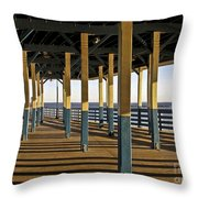 Seascape Walk On The Pier Throw Pillow
