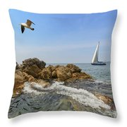 Seascape With A Yacht Throw Pillow