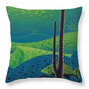 Seascape With Brain Coral And A Blue Striped Grunt Throw Pillow
