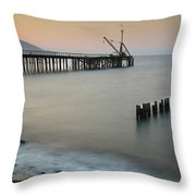 Seascape With Deserted Jetty During Sunset Throw Pillow