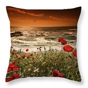 Seascape With Poppies Throw Pillow
