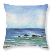Seascape With Three Rocks Throw Pillow