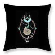 Seashell Mermaid Throw Pillow