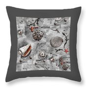Seashells Collage Of Any Color Throw Pillow