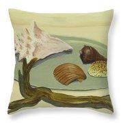 Seashells Throw Pillow by M Valeriano