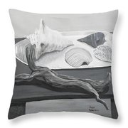 Seashells On Table Throw Pillow by M Valeriano