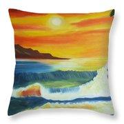 Seashore And Sunrise Throw Pillow