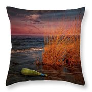 Seaside Bottle At Sunset Throw Pillow