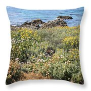 Seaside Flowers Throw Pillow