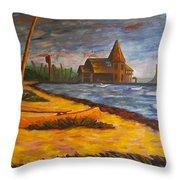 Seaside Park Nj Yacht Club Throw Pillow