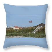 Seaside Patriotism Throw Pillow