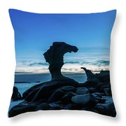 Seaside Rock Formations At Daybreak Throw Pillow