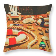 Seaside Ropes And Nautical Decks Throw Pillow