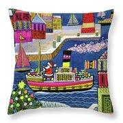 Seaside Santa Throw Pillow