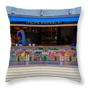 Seaside Shellfish Snack Shack Throw Pillow