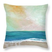 Seaside Sunset- Expressionist Landscape Throw Pillow