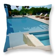 Seaside Swimming Pool As A Silk Screen Image Throw Pillow
