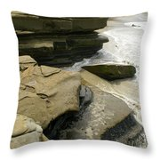 Seaside With Rocks On Left Throw Pillow