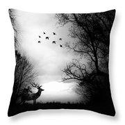 Seasons End Deer Geese Throw Pillow