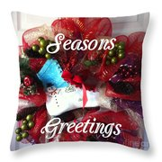 Seasons Greetings Old Skate Throw Pillow