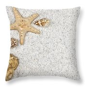 Seastar And Shells Throw Pillow by Joana Kruse