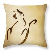 Seated Cat Throw Pillow