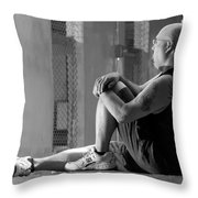 Seated In The Darkness Throw Pillow