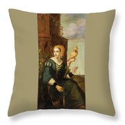 Seated Noble Lady With Distaff Throw Pillow