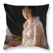 Seated Portrait Of Marie Philippe Claude Walbonne Throw Pillow