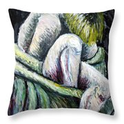 Seated Woman Abstract Throw Pillow
