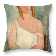 Seated Young Girl In A Shirt Throw Pillow