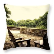 Seating For Two By The Creek Throw Pillow