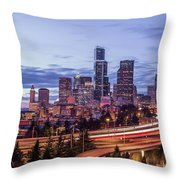 Seattle At Dusk Throw Pillow