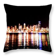 Seattle At Night - From Alki Beach Throw Pillow